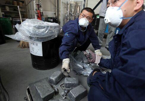 Workers Handling Neodymium Ingots In China