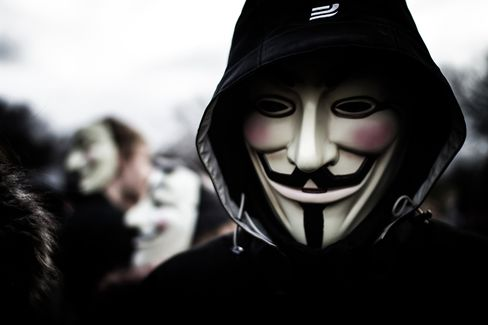 Guy Fawkes Masks During Protest