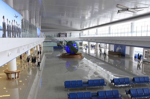 The new international airport terminal building at Pyongyang airport.
