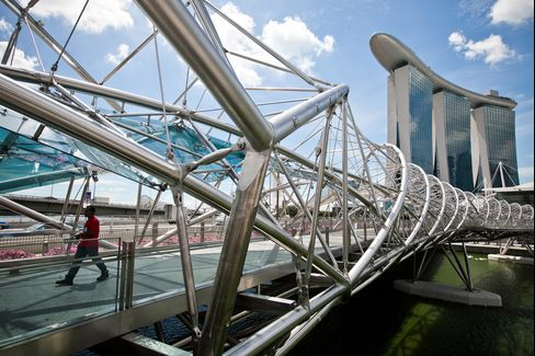 A pedestrian walks along the Helix Bridge as Marina Bay Sands stands in the background in Singapore. Photographer: Sam Kang Li/Bloomberg