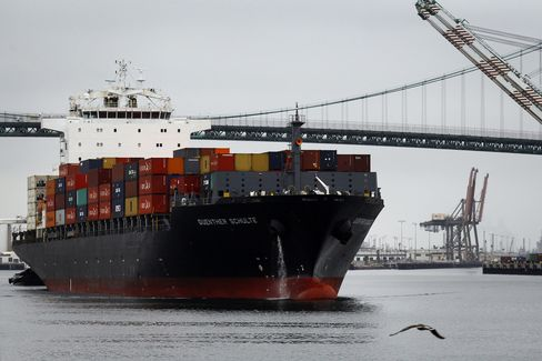 A Container Ship Departs the Port of Los Angeles