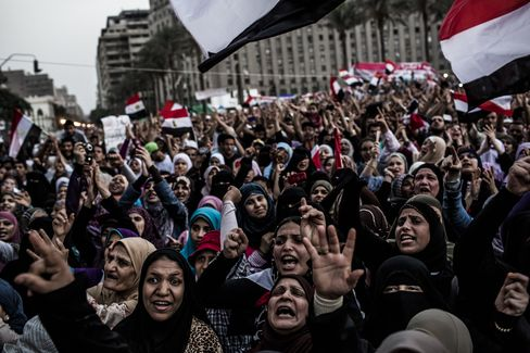 Supporters of Mohamed Morsi protest in Tahrir Square
