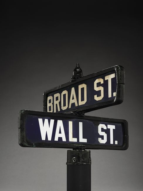 Street sign of Wall Street and Broad Street
