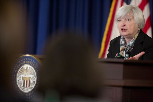 The stock market didn't much like what new Fed chief Janet Yellen had to say yesterday. Photographer: Andrew Harrer/Bloomberg