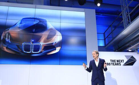 Adrian van Hooydonk unveils an image of the BMW Vision Next 100 concept automobile.