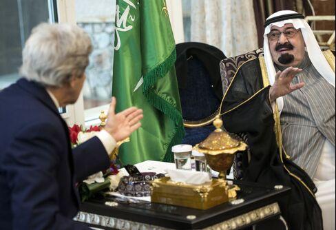U.S. Sec. of State John Kerry & Saudi Arabia's King Abdullah