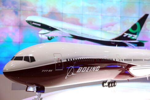 A Model of Boeing's 777X Aircraft Sits During Dubai Air Show