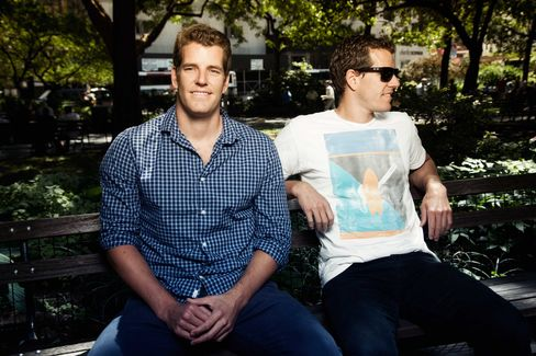 The Winklevoss twins, who in 2004 sued Facebook Inc. founder Mark Zuckerberg claiming he stole their idea for the social-networking site, caught the digital-currency bug at a Spanish beach resort. Photographer: Michael Sharkey/Bloomberg Markets