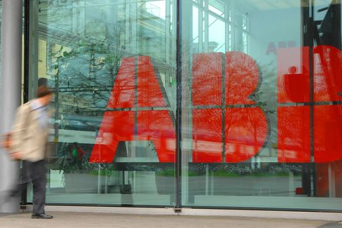 The ABB logo is seen at the company's headquarters