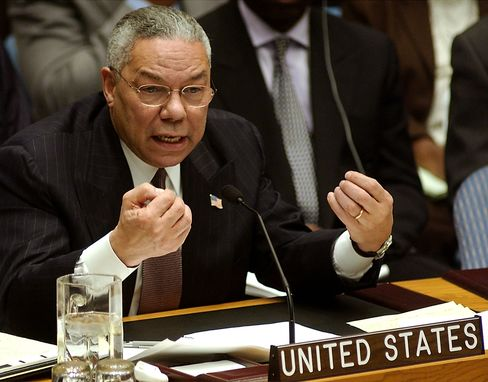 Colin Powell Says Iraq Blot Shows Leaders Must Stay Skeptical