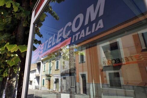 Telecom Italia Logo is seen on a Public Payphone