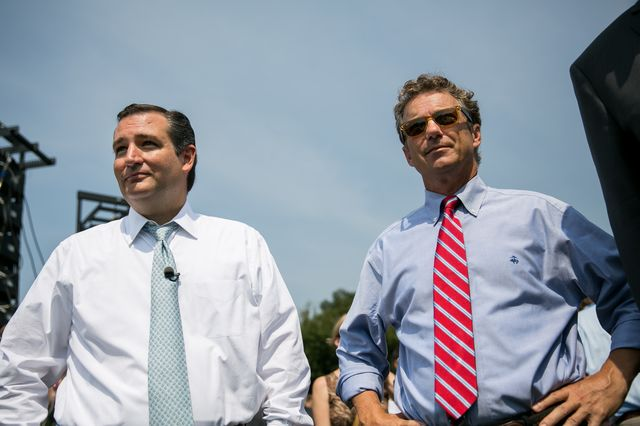 Senator Ted Cruz, left, no longer stands with Senator Rand Paul on foreign policy. Photographer: Drew Angerer/Getty Images