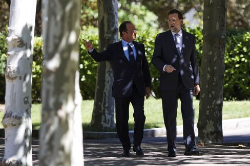 French President Francois Hollande and Spanish PM Mariano Rajoy