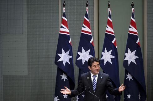 Shinzo Abe At The Australian Parliament