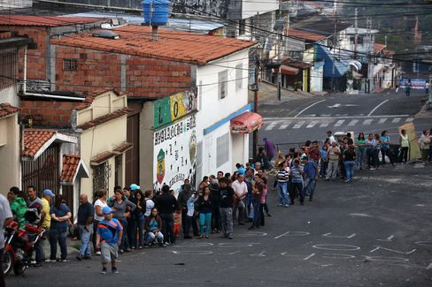 Lining Up for Food in Venezuela
