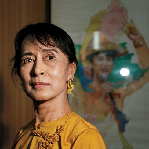 Aung San Suu Kyi, leader of the National League for Democracy party and Oxford Universityeducated Nobel Peace Prize laureate, poses in her office in Yangon, Myanmar (previously known as Burma). Photographer: Namas Bhojani/Bloomberg Markets via Bloomberg