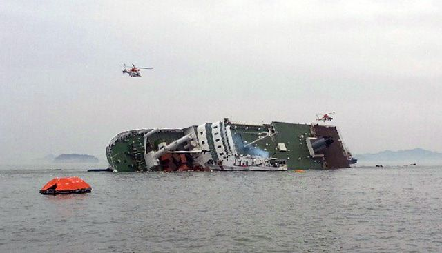 The Sewol before it capsized completely. Source: Yonhap News via Bloomberg.