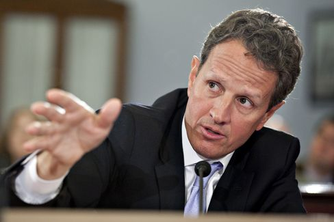 Timothy F. Geithner, U.S. treasury secretary, speaks at a House Budget Committee hearing in Washington, on Feb. 16, 2012. Photographer: Andrew Harrer/Bloomberg