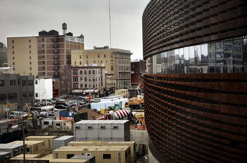 Construction continues at the Atlantic Yards real-estate project in in the Brooklyn borough of New York. Photographer: Victor J. Blue/Bloomberg