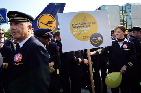 Striking Deutsche Lufthansa Pilots Protest in Frankfurt