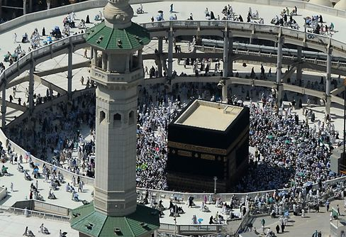 Grand Mosque and the Kaaba in the Holy City of Mecca