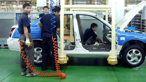 Workers assemble a car in Beijing.