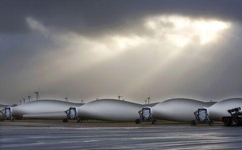 Wind turbine blades at the Vestas factory