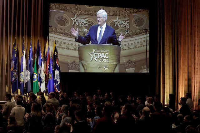 Newt Gingrich wows CPAC. Photographer: T.J. Kirkpatrick/Getty Images