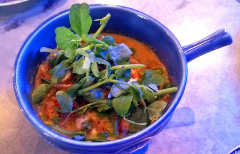 Curry laksa peas, roasted cashews, pea shoots at Chick 'n' Sours.
