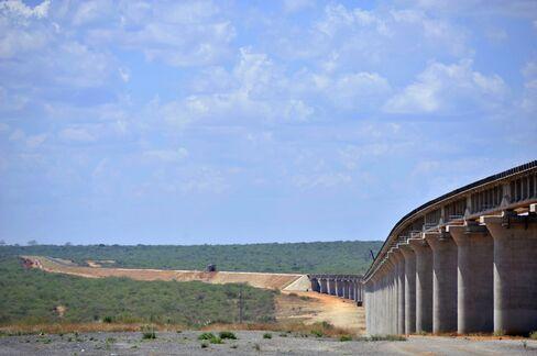 Newly laid track stretches across the Tsavo superbridge