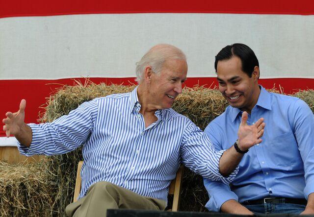 Vice President Joe Biden and San Antonio Mayor Julian Castro, who will be named HUD secretary today.Photographer: Steve Pope/Getty Images