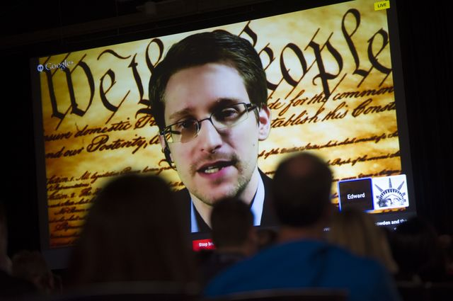 The Constitution looms large for Edward Snowden. Photographer: David Paul Morris/Bloomberg