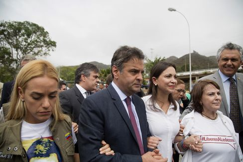 Aecio Neves, Maria Corina Machada and Lilian Tintori