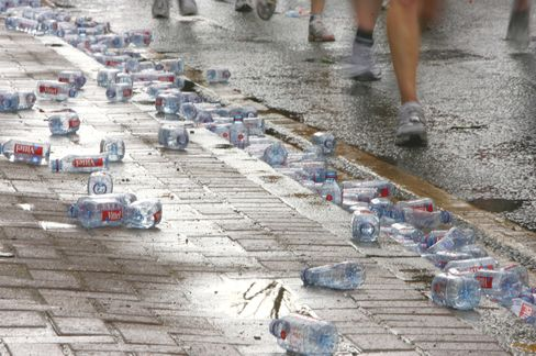 Water Bottles at London Marathon