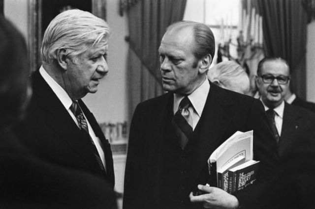 "President Gerald Ford meets with bipartisan congressional leaders to discuss the budget, including his longtime friend and colleague, Democratic House Majority Leader Thomas P. ""Tip"" O'Neill, and Senate Minority Leader Hugh Scott January 20, 1976 in Washington, DC. Photographer: David Hume Kennerly/ Getty Images"