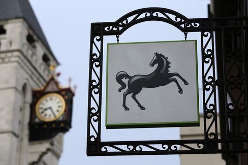 Lloyds Logo Sits Outside a Bank Branch in London