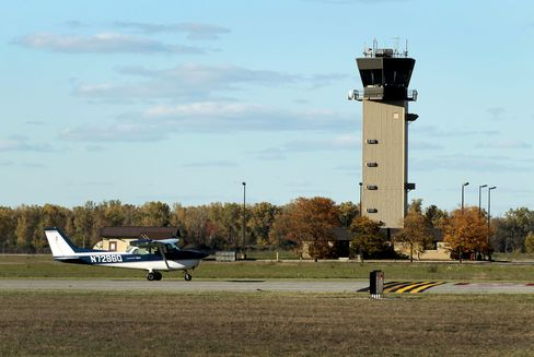 Once the city's main airport, Willow  Run now averages about one landing or takeoff an hour after 1 a.m. Photographer: Jeff Kowalsky/Bloomberg