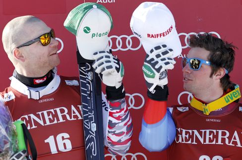 Joint winners Austria's Klaus Kroll and Swiss Beat Feuz
