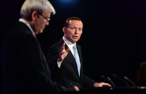 Australia's PM Kevin Rudd & Opposition Leader Tony Abbott