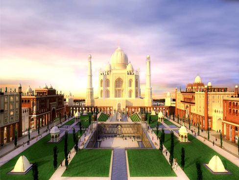 Link Global Group said it will build the Taj Arabia complex that includes a 300 room hotel in a replica of the 17th century Indian palace that's four times as big as the original. Source: Falcnocity of Wonders via Bloomberg