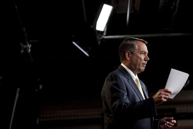 Does House Speaker John Boehner want the courts to intervene whenever a chamber of Congress is unhappy?