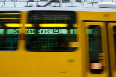 A Tram Passes a Deutsche Bank Logo in Berlin