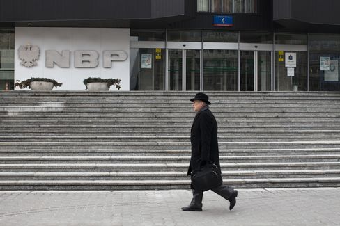 A Pedestrian Passes the Central Bank in Warsaw