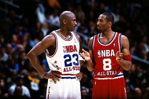 Basketball Players Michael Jordan and Kobe Bryant