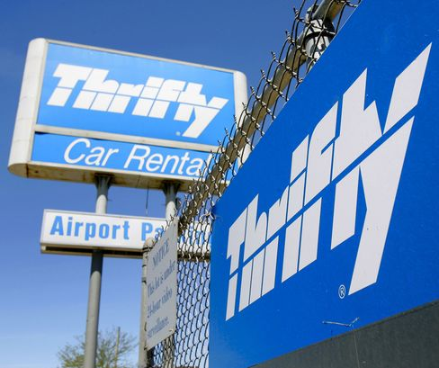 A Thrifty sign at O'Hare International Airport in Chicago