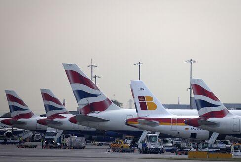 Iberia and British Airways Aircraft Sit At Heathrow Airport