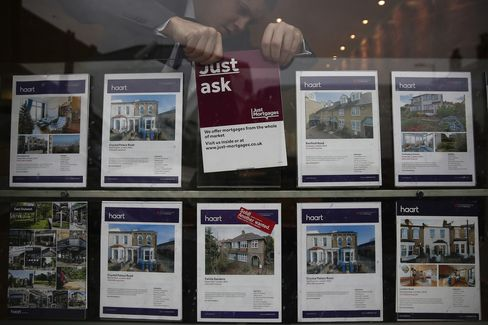 A Sign is Arranged in an Estate Agent's Window in London