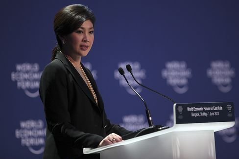 Yingluck Shinawatra, Thailand's prime minister, speaks during the opening ceremony of the World Economic Forum on East Asia 2012 in Bangkok, Thailand. Photographer: Dario Pignatelli/Bloomberg