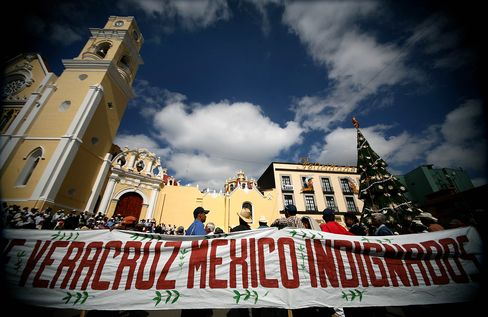Coffee producers from various regions gathered to protest in Xalapa, Mexico. Photographer: Felix Marquez/Bloomberg