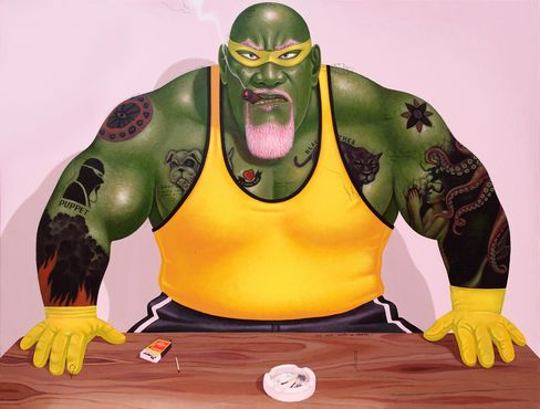 The wrestler Hulk Hogan meets Marvel Comics' Incredible Hulk in Masriadi's 2013 painting